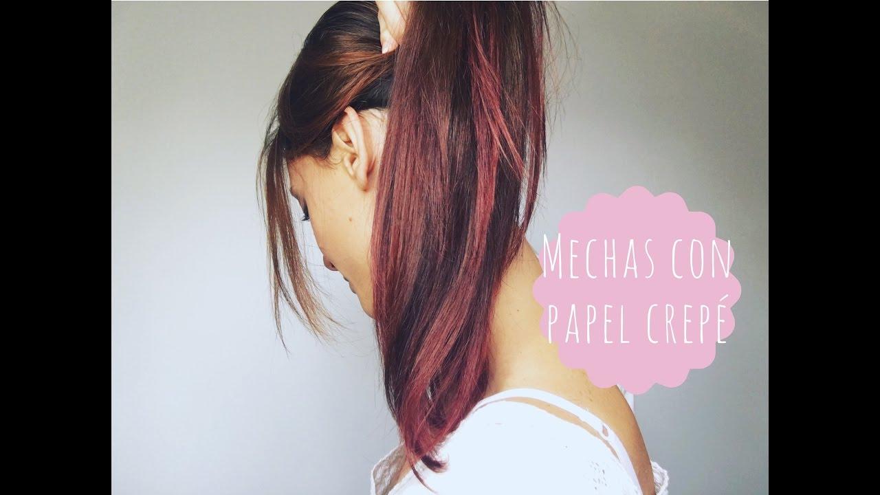 Mechas de colores en casa con papel crep youtube - Como darse mechas en casa ...