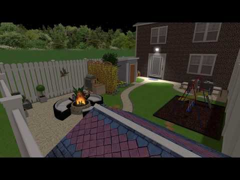 "3D Garden design  in Dundalk Co.LOUTH  at night  by ""WATERWELL"" Patio & Paving Centre"