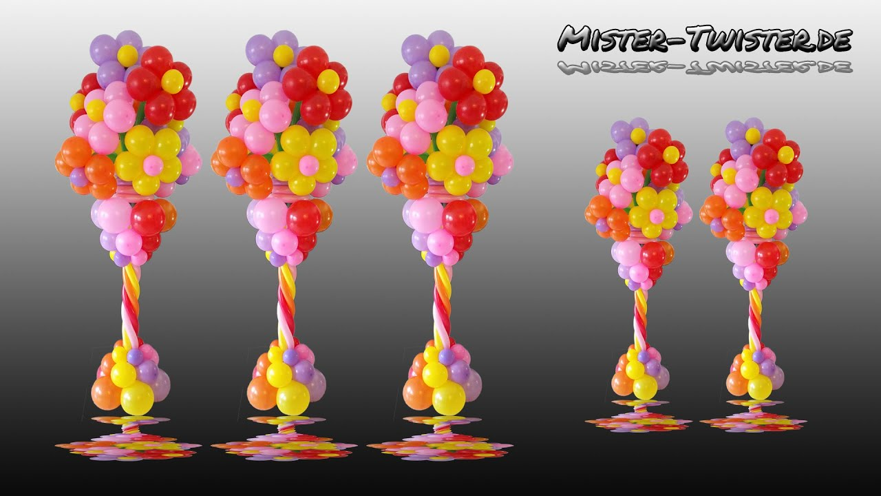 Balloon flower column vase decoration ballon blume for Bed decoration with flowers and balloons
