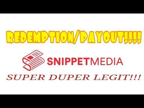 PAANO MAGREDEEM O PAYOUT SA SNIPPET MEDIA | SUPER LEGIT MGA BES!