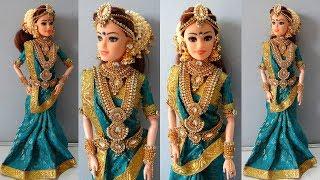Barbie doll saree draping   Indian bridal doll making and jewellery    Barbie bridal doll makeover