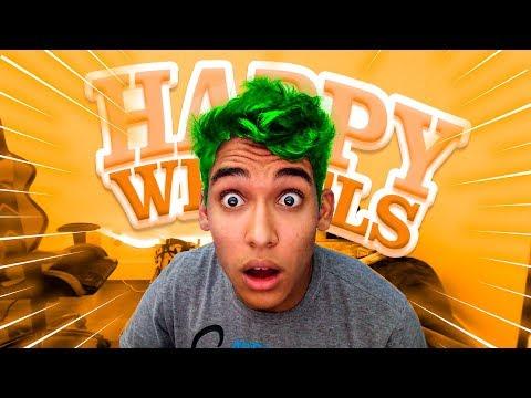 PINTEI O MEU CABELO JOGANDO HAPPY WHEELS !!