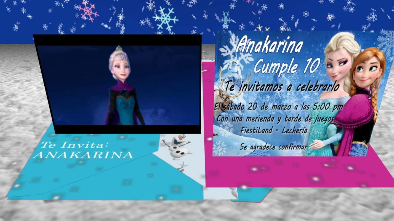"Tarjeta de invitación animada en 3D Cumpleaños Frozen""Pop Up"" YouTube"