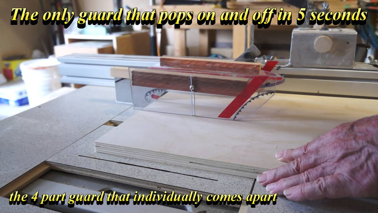 How to the drop in and off table saw guard in 5 secs youtube how to the drop in and off table saw guard in 5 secs greentooth Images
