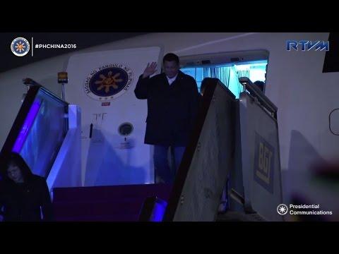 Duterte arrives in China