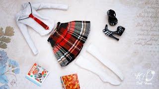 как сшить юбку на кокетке, галстук и гольфы для кукол!Собираем школьную форму для куклы!DIY