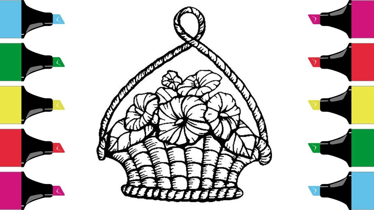 Glitter Flower Baskets Drawing And Coloring Pages - YouTube | 720x1280