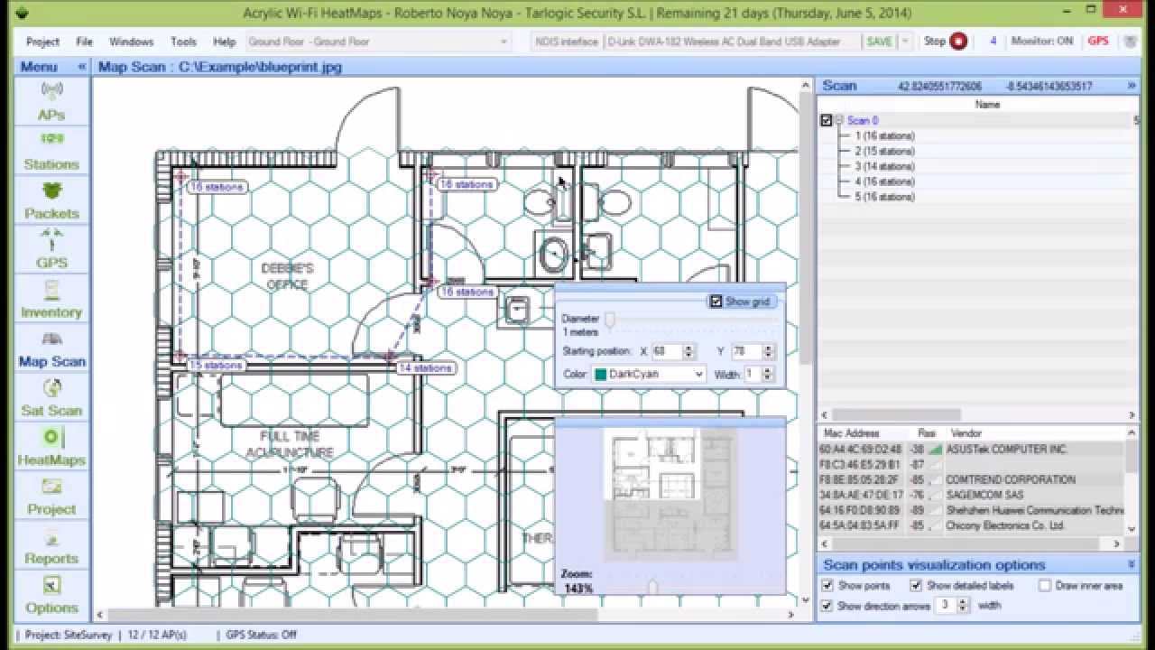 WLAN Site Survey Software with Coverage Grid