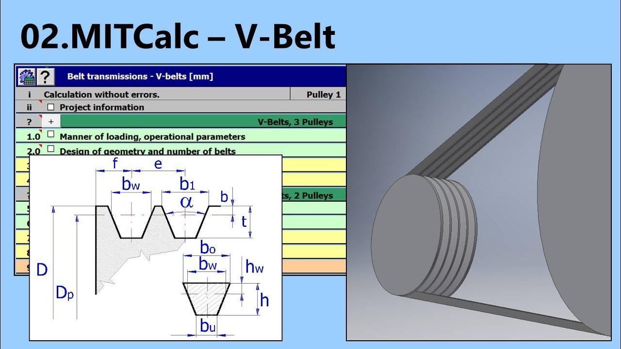 V-Belt Calculation and Design (MITCalc-02)