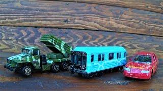 машинки поезда и военная техника игрушки технопарк видео про машинки для детей