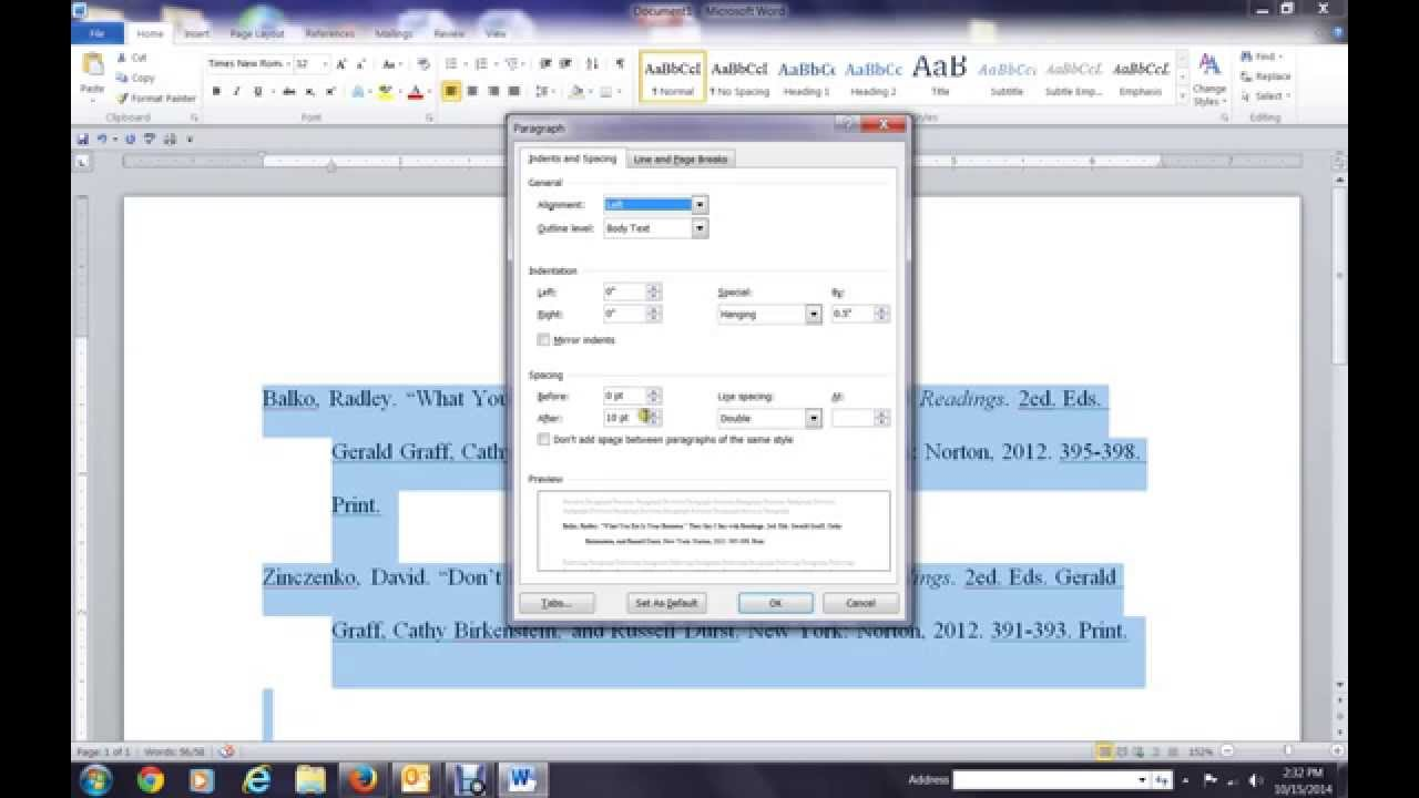 how to add works cited in word