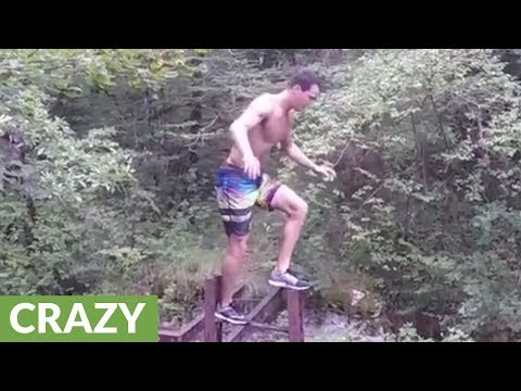 Insane daredevil jumps nearly 50 feet into water pit