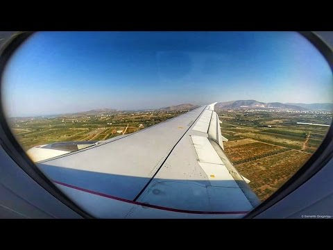 Aegean A320 Full Flight LGTS-LGAV - GoPro Wing View - Amazing startup sound! Takeoff & Landing