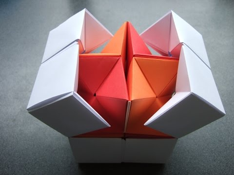 Thumbnail: origami - action origami - double star flexicube (David Brill) - tutorial - dutchpapergirl