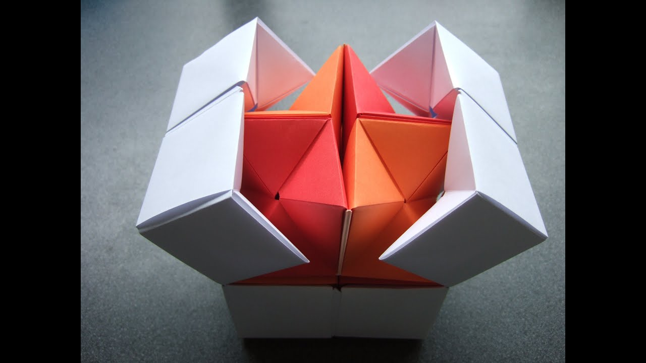 Papercraft origami - action origami - double star flexicube (David Brill) - tutorial - dutchpapergirl