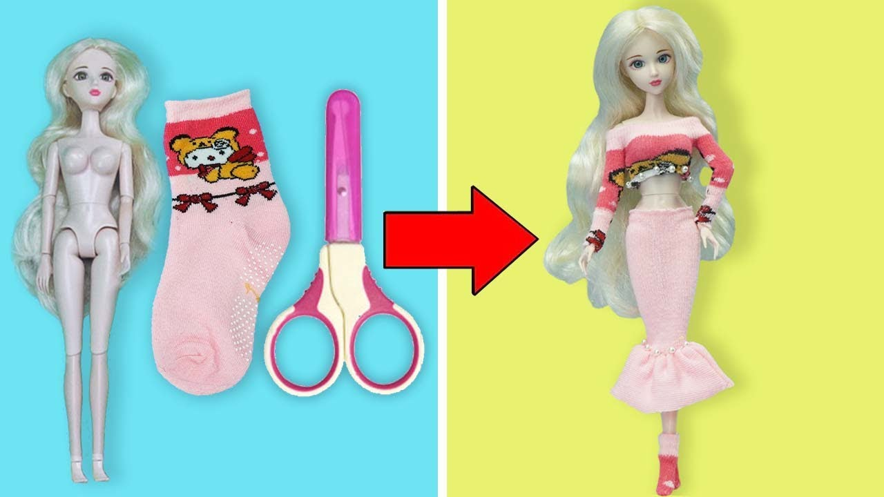 Download DIY BARBIE HACKS AND CRAFTS | Making Easy Dress for Barbies Doll From Socks