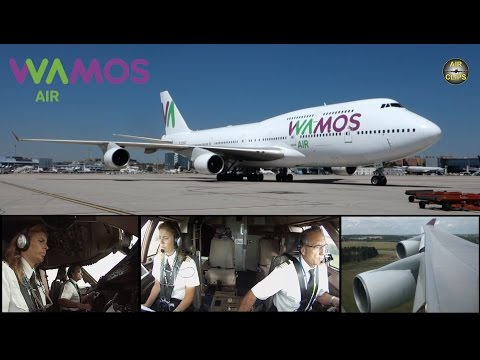 Boeing 747-400 ULTIMATE COCKPIT MOVIE,Wamos Air,SHORT FIELD LANDING,ATC[AirClips full flight series]