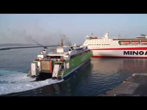 HIGHSPEED 5 ARRIVAL AND MANEUVER AT HERAKLION PORT