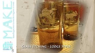 Rustic Lodge Etched Glass Drinking Glasses - Moose Design