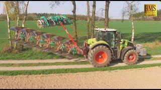 Pflügen - Claas Axion 830 mit Kverneland 6-Schar Anbauvolldrehpflug und Packomat - Ploughing 2018
