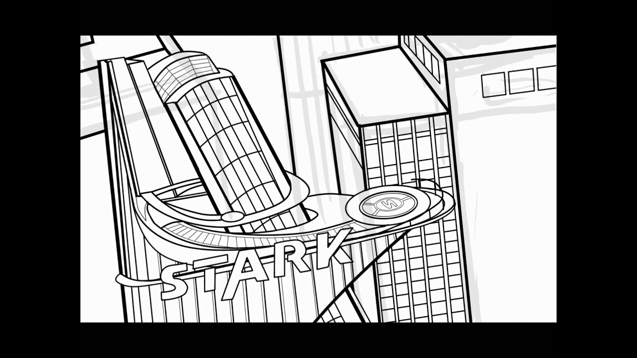 Avengers Tower Coloring Pages : Inking stark tower part youtube