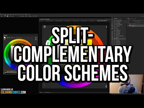 What are split complementary color schemes? a Photoshop comic book coloring tutorial!