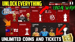 Real Cricket 20 Unlimited Coins & Tickets Unlock Everything V.3.1 Trick 100% Working [Legal Way]