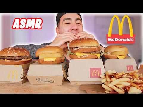 ASMR MCDONALDS POUTINE + BIG MAC + QUARTER POUNDER + FILET O FISH   REAL INTENSE EATING SOUNDS