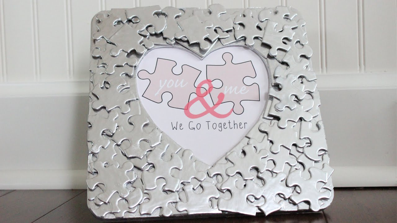 Diy Valentine S Day Puzzle Piece Heart Photo Frame Free Printable