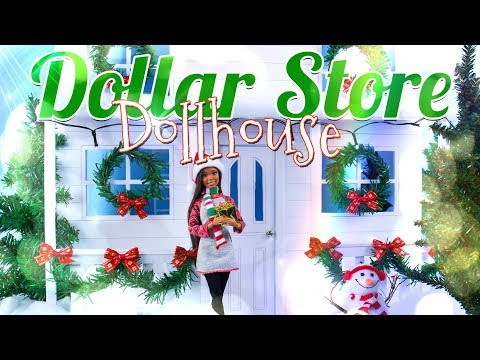 DIY - How To Make: Dollar Store Dollhouse | GIANT Winter Dollhouse For 10 - 12 Inch Dolls