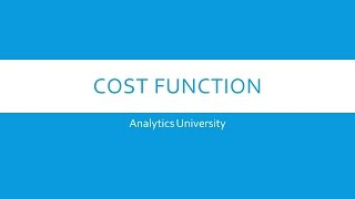 Cost function in Machine Learning