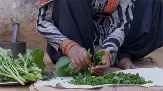 Cutting sarso ka saag for preparing famous Indian dish - Village scene in North India