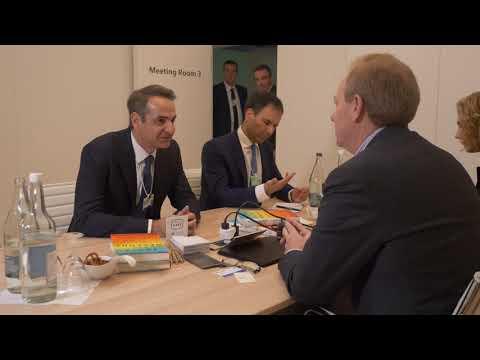 Newpost.gr - Συνάντηση Μητσοτάκη με τον πρόεδρο της Microsoft στο Νταβός