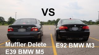 Muffler Delete E39 BMW M5 vs E92 BMW M3 Awesome Exhaust and Acceleration Competition