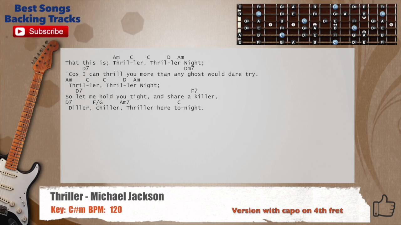 Thriller Michael Jackson Guitar Backing Track With Chords And