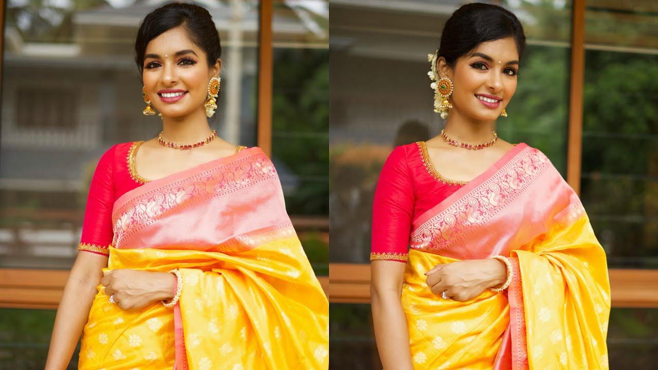 Simple wedding guest makeup look💄 & Hairstyle Saree styling Jasmine flower hairstyle Asvi Malayalam