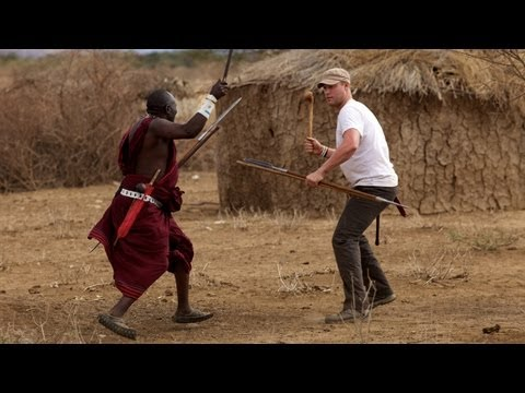 Freddie Flintoff Fighting Maasai with a Spear