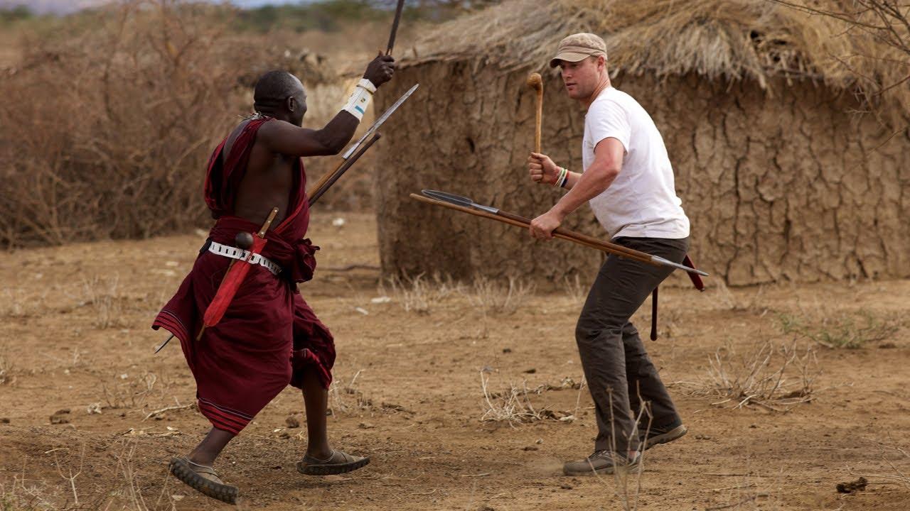 Freddie Flintoff Fighting Maasai with a Spear
