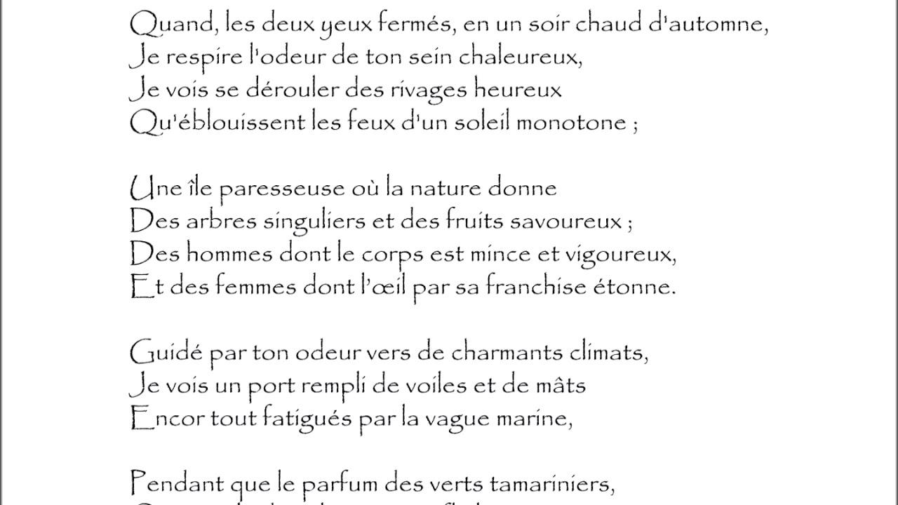 Baudelaire Parfum Exotique Quand Les Deux Yeux Fermés Audiothèque