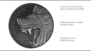 APMEX Silver Coins | APMEXclusive® Predator Series - 2oz Silver Gray Wolf Coin
