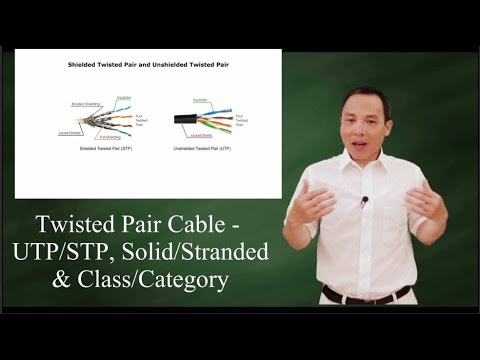 Twisted Pair Cable: UTP/STP, solid/stranded, & class/category