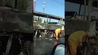 На трассе М 2 загорелся рейсовый автобус