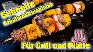 😋 Nix für Spießer: KRÄUTERBUTTER Spieße mit Steak 🥩 von der FEUERPLATTE ♨️!