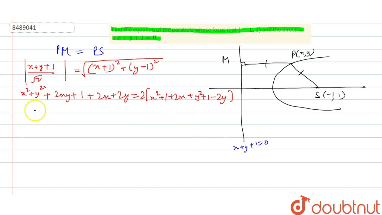 [Solved] Find the equation of the parabola described below