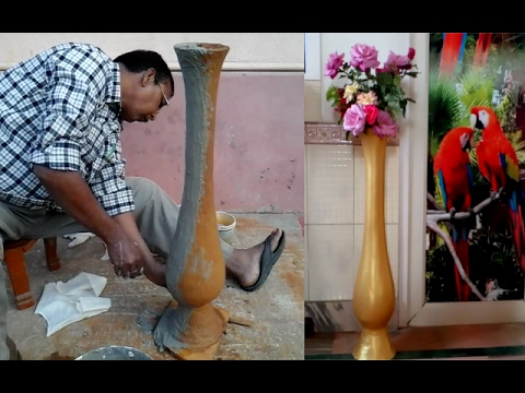 Create a Cement Flower vase for home decoration