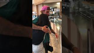 Justin Bieber hugging a fan for 30 seconds in Brooklyn, New York - July 13, 2018