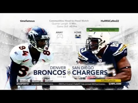Madden 12 - My Greatest Comeback Ever! - San Diego Chargers vs Denver Broncos