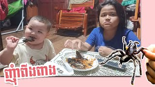 Hea Boy | Kids eat insects | yummy | Eat A Fried Spider