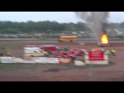 Proctor Speedway Bus Races - Bus and RV on fire