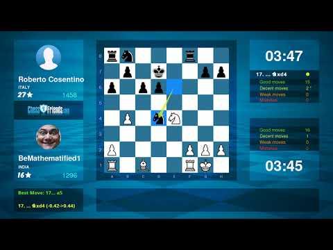 Chess Game Analysis: BeMathematified1 - Roberto Cosentino : 1/2-1/2 (By ChessFriends.com)